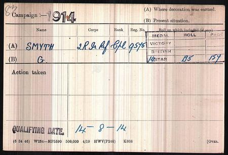 Medal Index Card for George Smith 9575