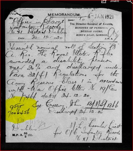 A note found within John Creevy's Army records