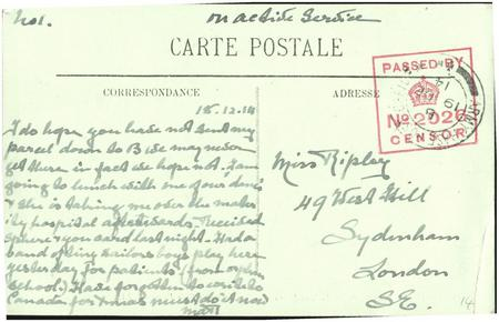Postcard from Margaret Ripley to her sister