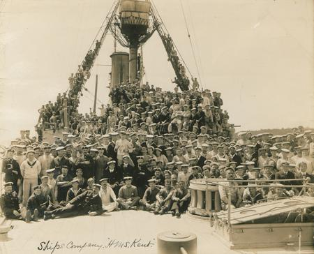 The crew of HMS Kent in June 1915 while the ship w