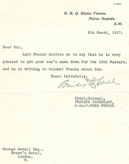 Letter from Lord French's private secretary.