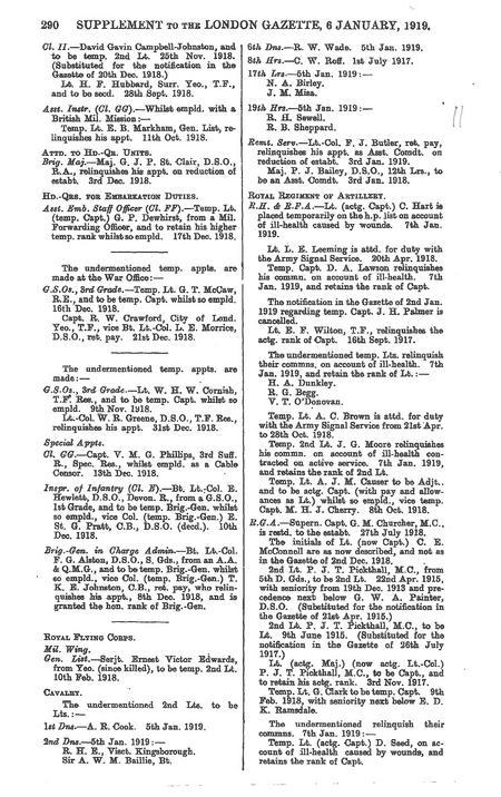 London Gazette 6 Jan 1919