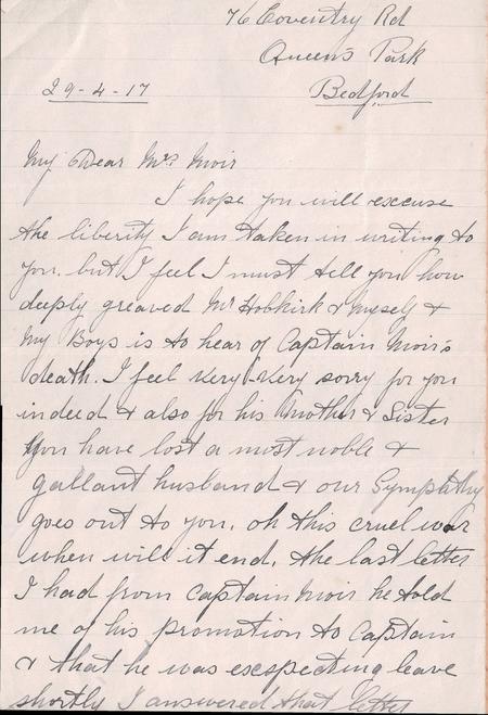 Condolence letter 1 page 1