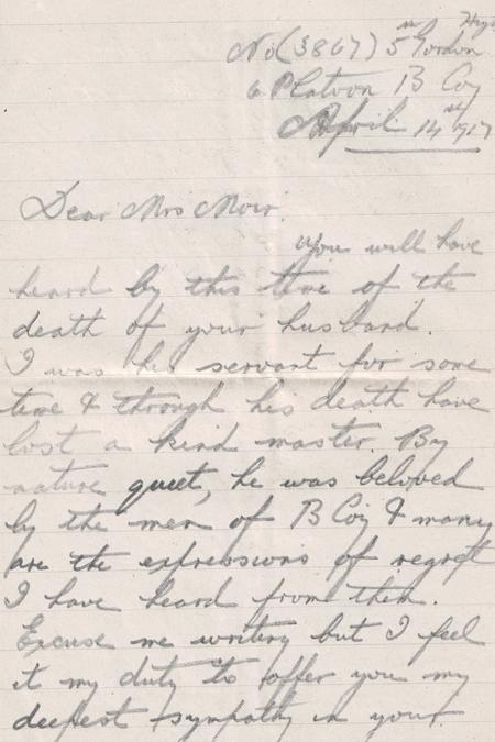 Condolence letter 3 p1 from orderly John  D Gillan