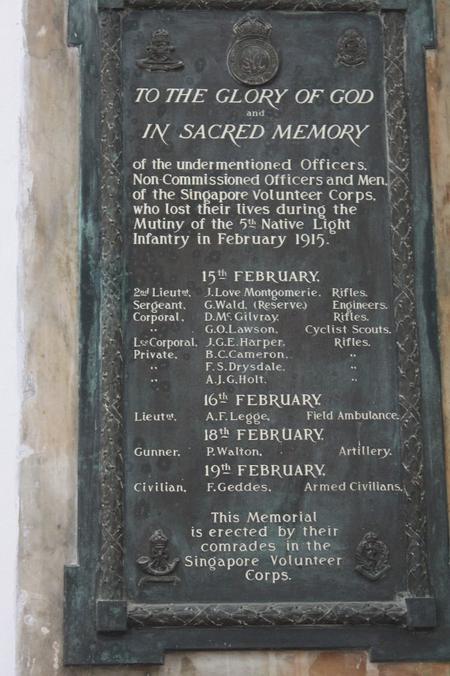 Singapore Volunteers Memorial Plaque in St Andrew'