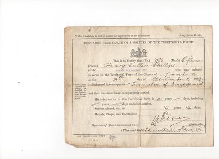 Henry Cullen Phillips Discharge Certificate