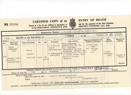 Death Certificate of Henry Cullen Phillips