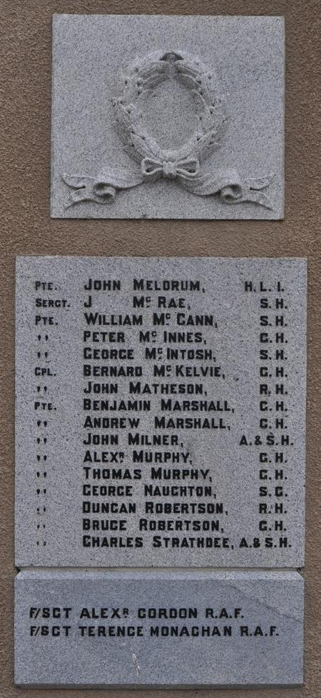Kirkmichael Parish War Memorial, Tomintoul, Moray