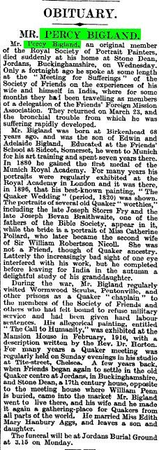 Cutting from newspaper Percy Bigland's obituary