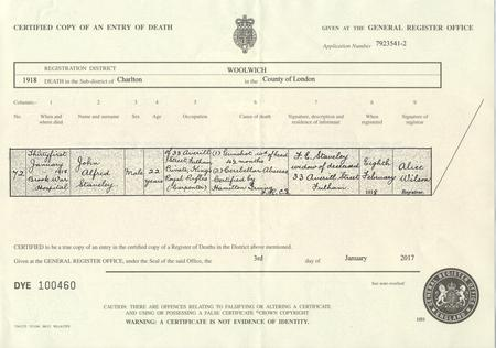 Death Certificate for John Alfred Staveley