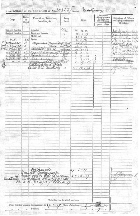 Service Record with Northumberland Fusiliers