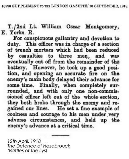 Gazette Citation: Military Cross