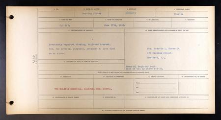 Canada, CEF War Graves Register, 1914 - 1919