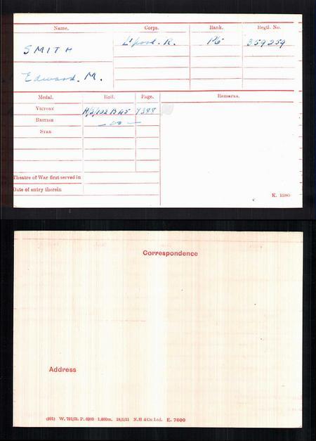 British Army WWI Medal Rolls Index Card