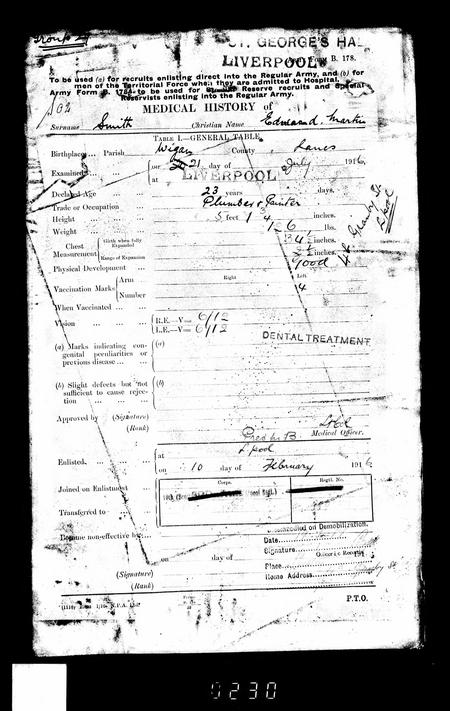 WWI Service record medical history
