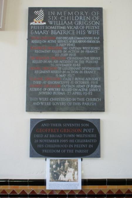Grigson memorial, St Nun's Church, Pelynt