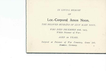 Memorial card for Amos Noon