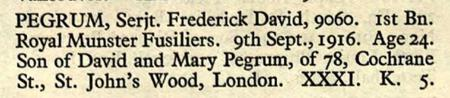 Fred Pegrum's Official Death Entry