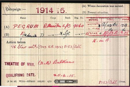 Frederick David Pegrum Medal Card
