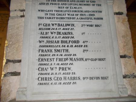 Elmley Castle memorial close-up