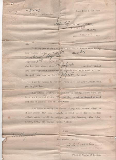 Ernest Heyworth death notification