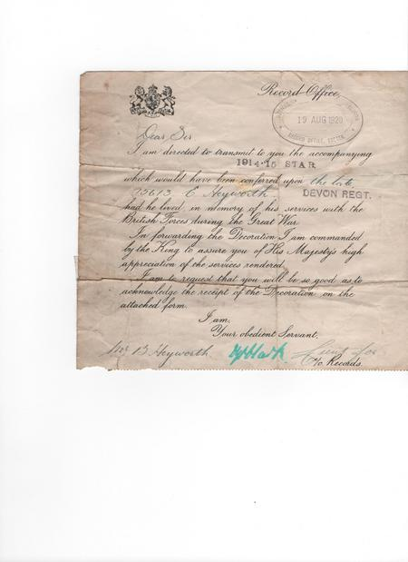 Covering letter for medals awarded to Pte Heyworth