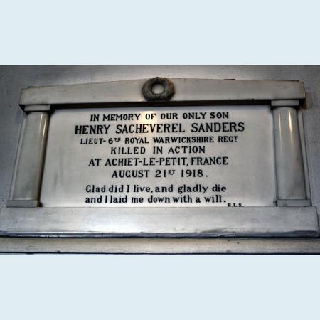 Memorial tablet to Henry Sacheverel Sanders