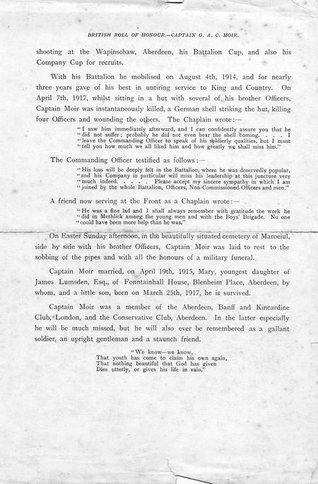 Obituary for Captain G A C Moir page 2