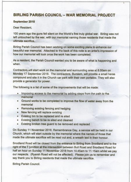 Letter to Birling residents