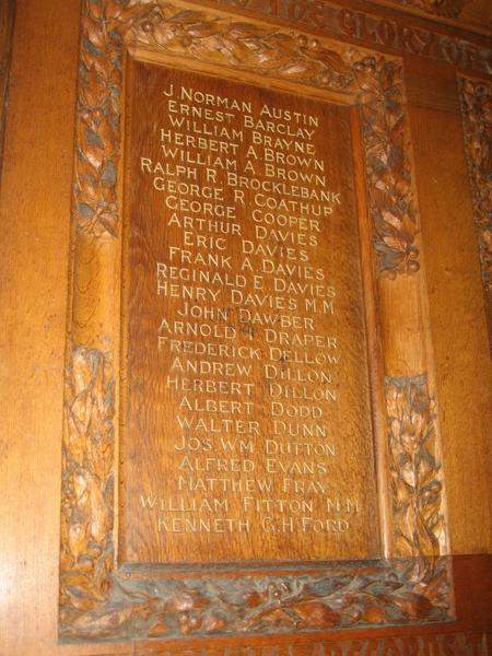 WW1 Roll of Honour, St Andrew's Church