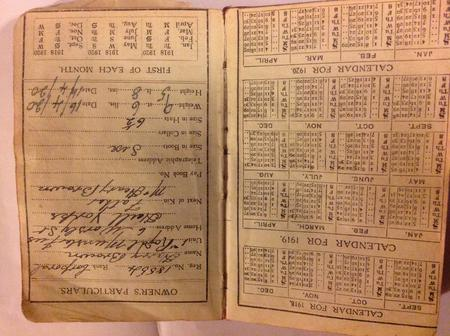 Personal details written in diary