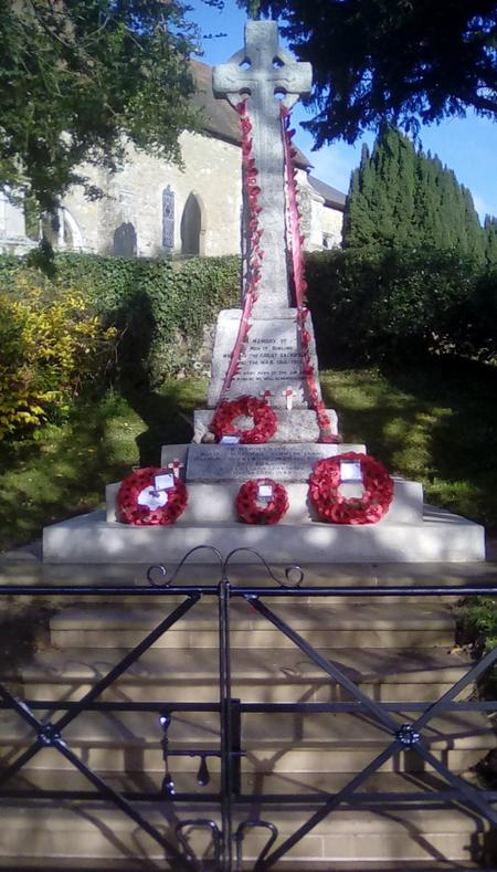 The refurbished decorated Birling War Memorial.