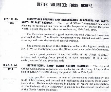 Orders 43 and 44 for the Ulster Volunteers