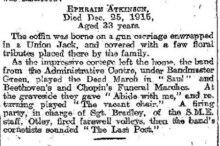 Report of funeral in local paper