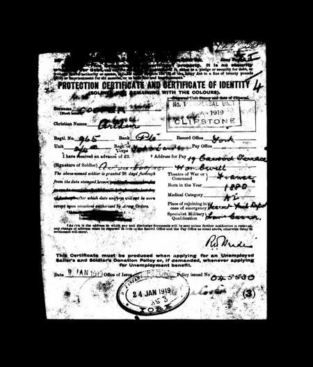 Arthur Cooper war records