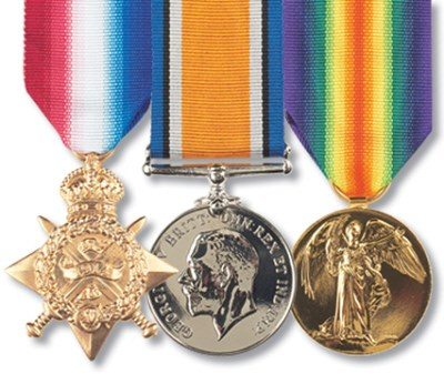 1914/15 Star, British War Medal and Victory Medal