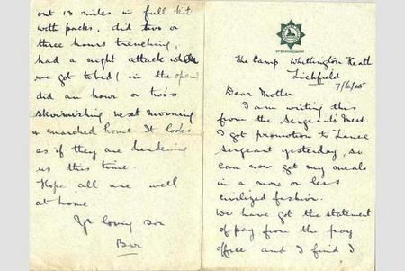 Letter from Barnard to his mother