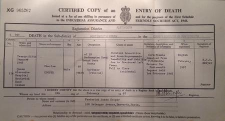 Charles Cooper Death Certificate