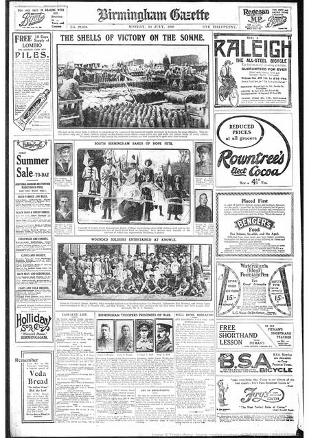 Birmingham Gazette dated Monday 10 July 1916