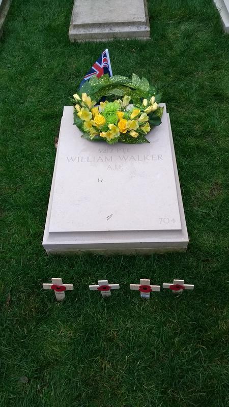 New William Walker headstone with Wreath