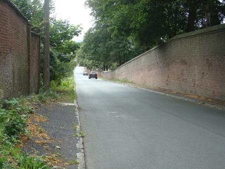 The road along the eastern edge of the cemetery