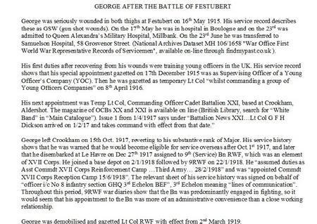 George's career after Festubert