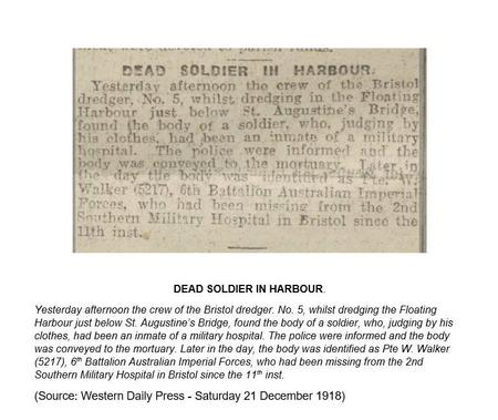 Western Daily press report of drowning 21.12.1919