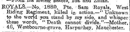 Death notice in Halifax Courier