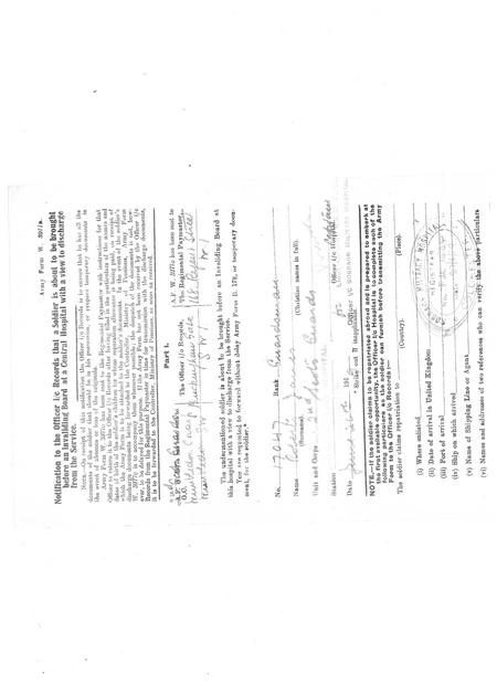 Notification of Invaliding Board for James Roberts