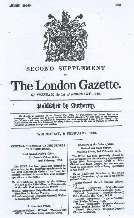 The London Gazette 2 Feb 1916