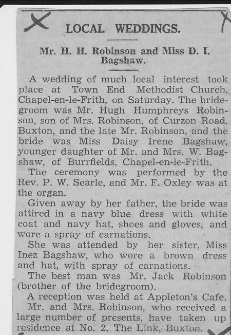 BAGSHAW Daisy Irene - Marriage