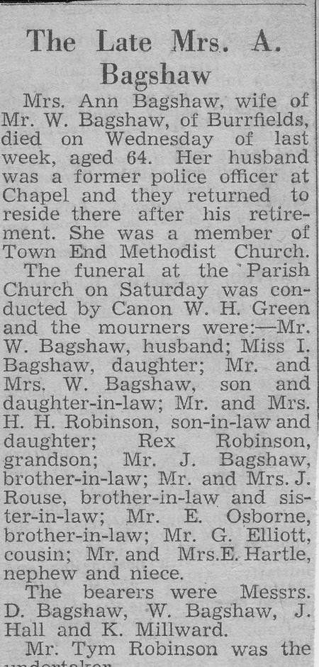 The late Mrs. A Bagshaw