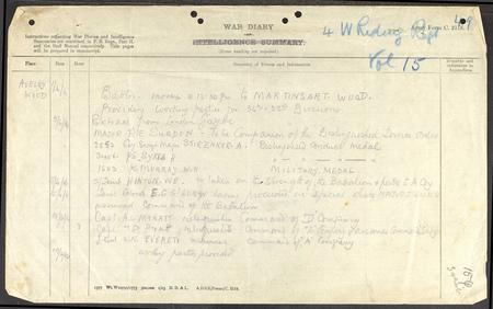 Mention of DCM in war diary