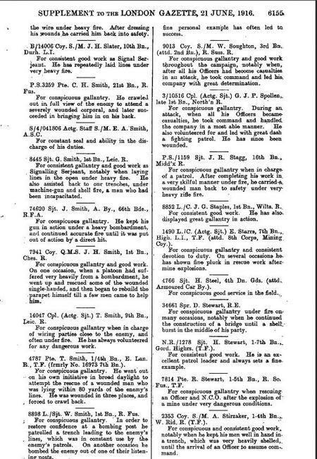 Citation for DCM in London Gazette